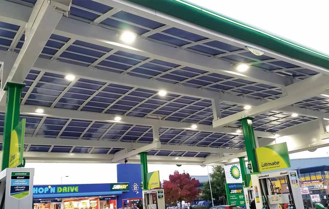 Custom Vinyl Graphics For Petrol Station Glass Canopy